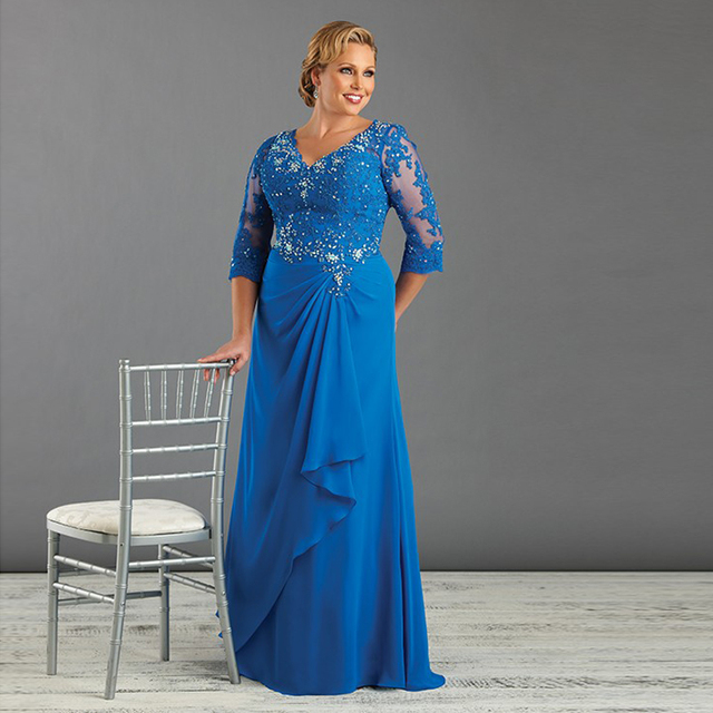 0ca49c5615bb Full Length V Neck Chiffon Royal Blue Mother of the Bride Dresses with  Sleeves Beading Appliques Open Back Big Plus Size