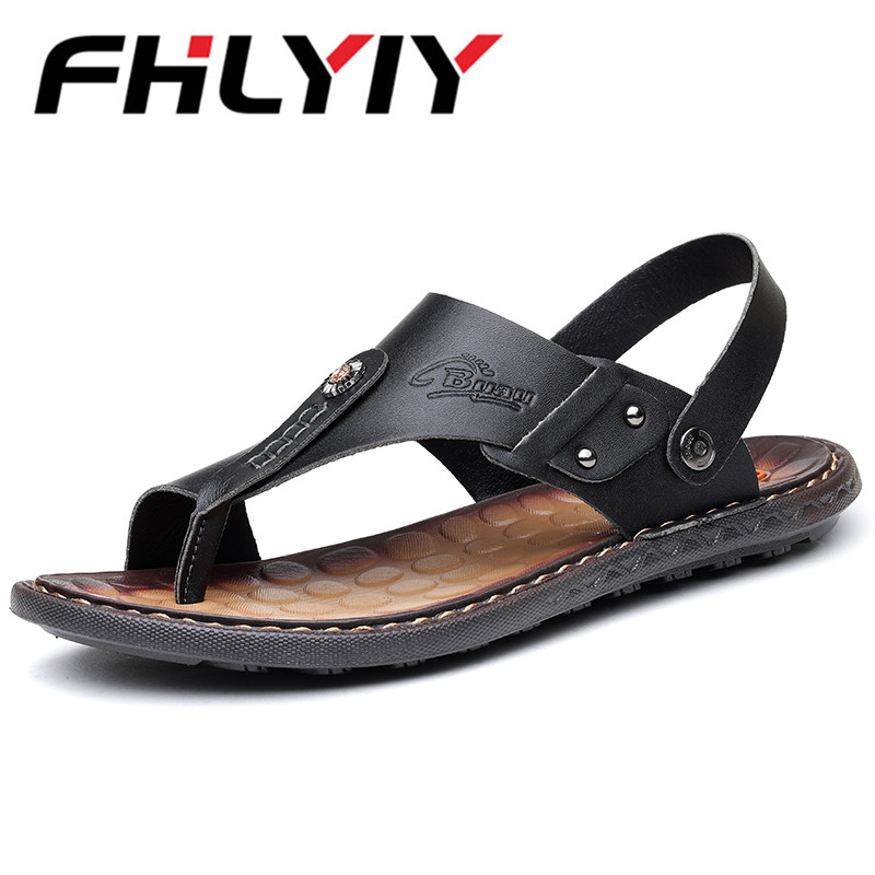 MenS Sandals Genuine Leather New Outdoor Casual Men Sandals Slippers Summer Shoes Beach Flip Flops Chinelo Masculi Sapatos