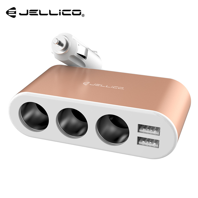 Jellico 3.1A Dual USB Car Charger Charging Voltage Current Display Phone Charger with 3 Cigarette Lighter Socket For GPS Charge