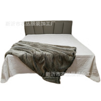 Faux fur gray super soft throw imitation rabbit fur blanket 150x200cm
