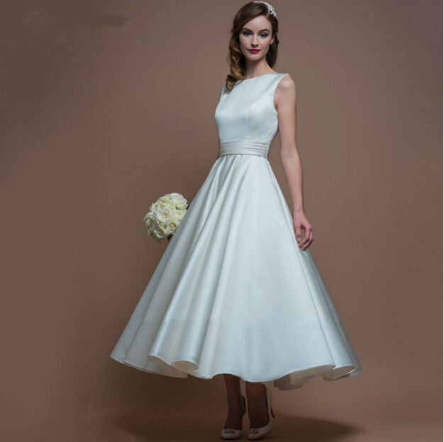 2016 Simple A Line Tea Length Wedding Dresses Backless