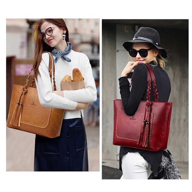 Driga moda de gran capacidad Causal bolsos de hombro para mujeres 2019 otoño cuero flecos monedero bolsos Retro borla Shopper Tote