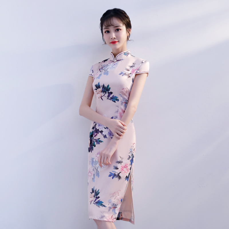 Plus Size XXXL Summer New Elegant Female Qipao Chinese Traditional Handmade Button Cheongsam Print Floral Casual Dress B-119