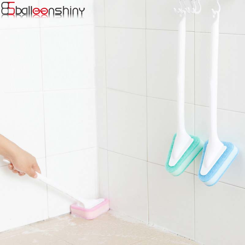 BalleenShiny 1 pc Triangle Long Handle Cleaning Sponge Brush Multi-purpose Floor Toilet Sink Wall Window Cleaner Cleaning Tools