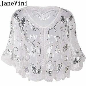 Image 3 - JaneVini Arabic Evening Shawls with Sequins Beaded Bridal Wraps Shrug Cape Dentelle Gold Bolero Tul Wedding Party Jackets Coat
