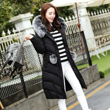 CP Brand 2016 New Arrival Winter Women Padded Coats Medium Long Solid Hooded Cotton Jacket with Fur Collar Thick Warm Slim Parka