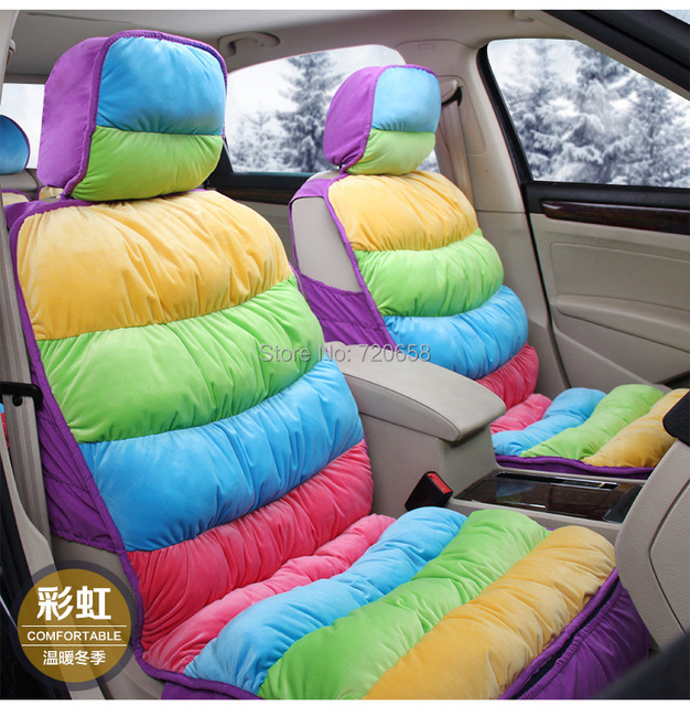 Winter New Coming 2014 fashion colorful rainbow car seat cover ...