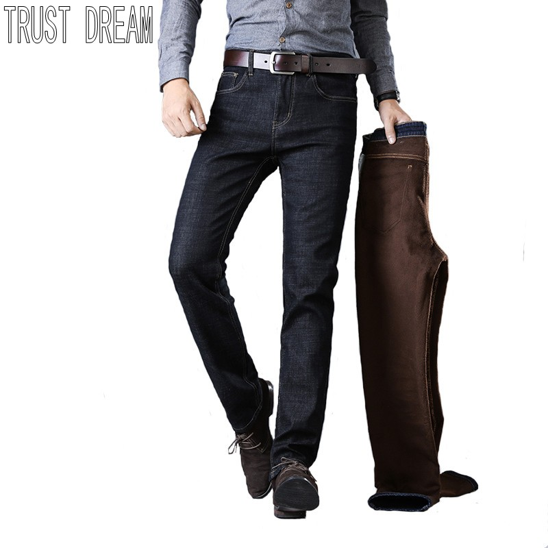 TRUST DREAM  Autumn Winter Men Stretch Thicken Jeans Warm Fleece High Quality Denim Jean Pants Trousers Man Velvet Slim Jeans men jeans 2017 autumn winter mens denim jean blue cotton pants men denim trousers slim fit jeans male plus size high quality