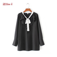 dower me Plus Size 5XL Womens Summer Bow Black White Chiffon Girl Shirts Blouses Loose Casual Feminina Femme Tops for wholesale
