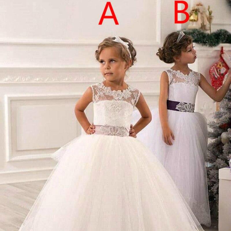 Детская одежда новый 2018 кружева рукавов Лук Хвост дрель Пышное Платье для девочек элегантные принцессы на свадьбу для девочек в цветочек пл