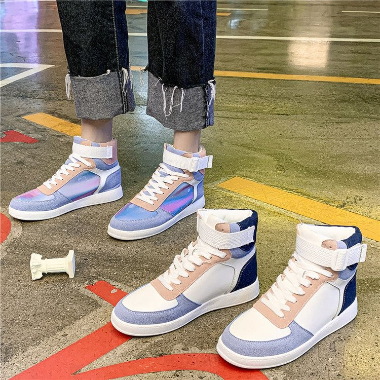 Mhysa 2019 Autumn Women Fashion Sneakers High Top Hook Loop Lace Up Platform Casual Shoes flat Heel Women's vulcanized shoes 36