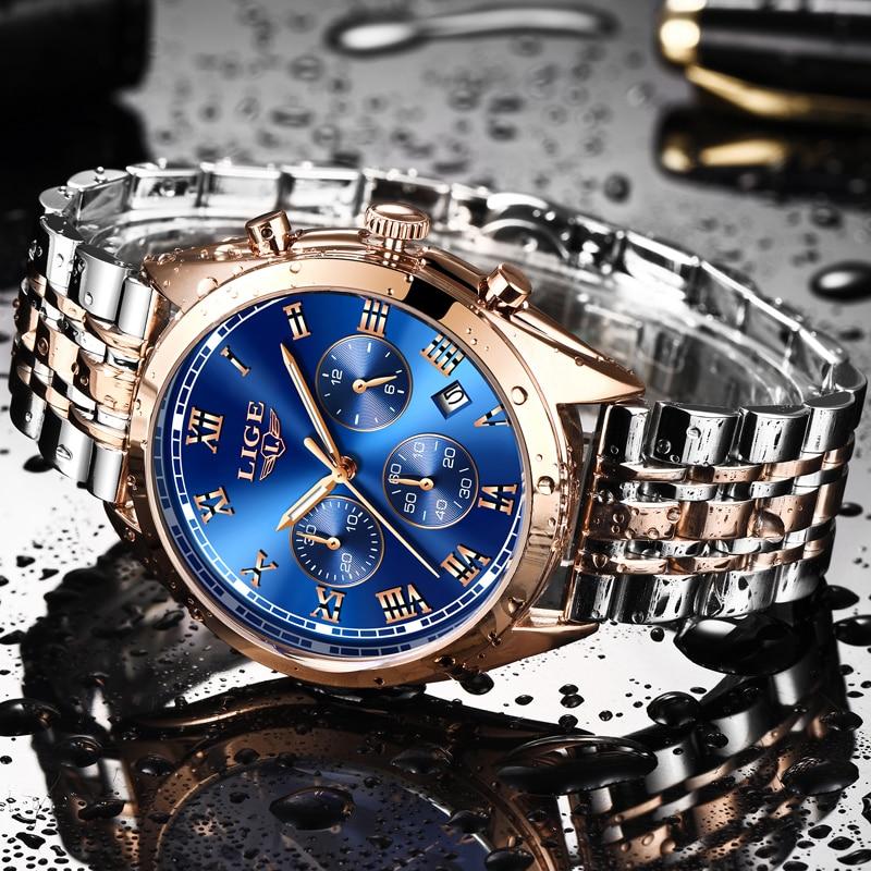 все цены на Relogio Masculino LIGE Watches Men Luxury Brand Fashion Business Quartz Wristwatches Men Waterproof Sport Military Wristwatch