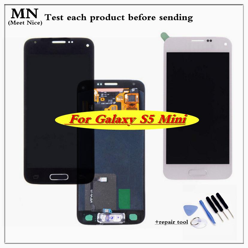 Prix pour 100% tetsed nouveau pour samsung galaxy s5 mini g800 g800f g800h écran lcd avec écran tactile digitizer assemblée livraison gratuite