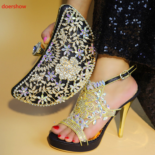 doershow New black color Italian Shoes With Matching Bags African Women Shoes and Bags Set For Prom Party Summer Sandal PAB1-36