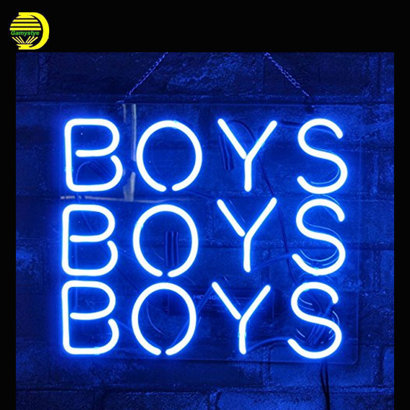 Gritcol Blue Boys Neon Sign Neon Bulb Sign Store Display Decorate Window Wall Real Glass Tube Handcrafted with Clear Board light