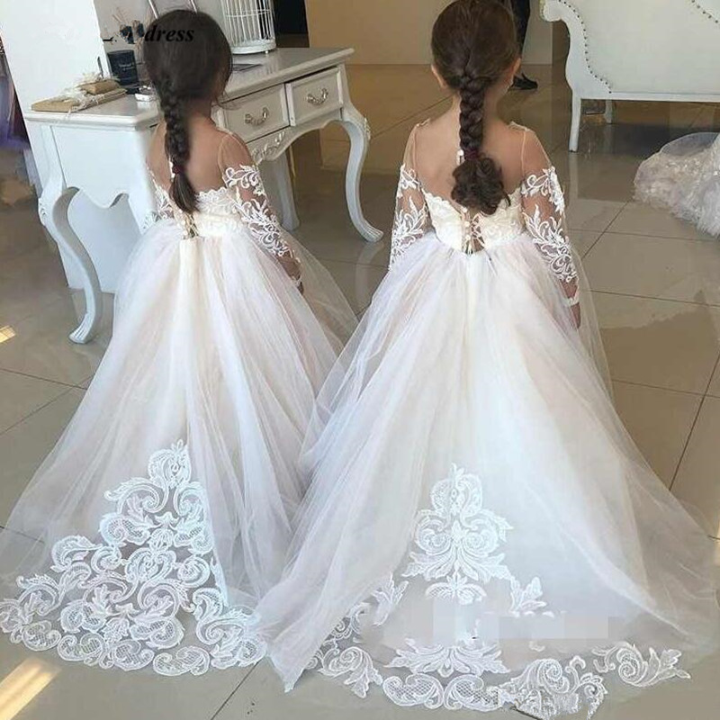 Flower Girl Dress For Wedding Tulle Long Sleeve Ball Gown Lace Appliques Little Gowns Girls First Holy Communion Dresses