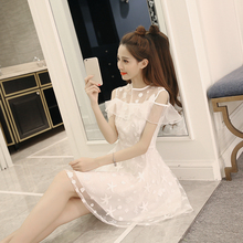 New Summer Women dress Ruffles Embroidery Slim Japanese Small Clear Dew Shoulder Organza Dresses White Light Blue 5443