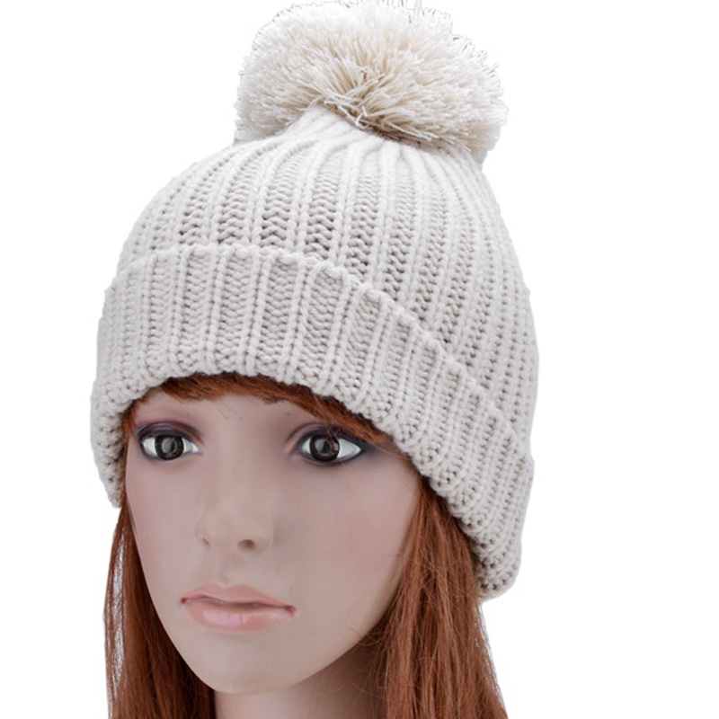 Knitted Hat Female Winter Cap Solid Beanie Gorros Touca Hats for Women Beanies Headgear For Women Solid Braid Hat With Pom Pom mengpipi womens letters knitted hats winter glass sequins beanie hat cap chapeu gorros de lana touca casquette cappelli bonnets