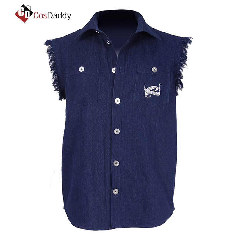 CosDaddy AC/DC Cosplay Costume Brian Johnson Chemise sans manches