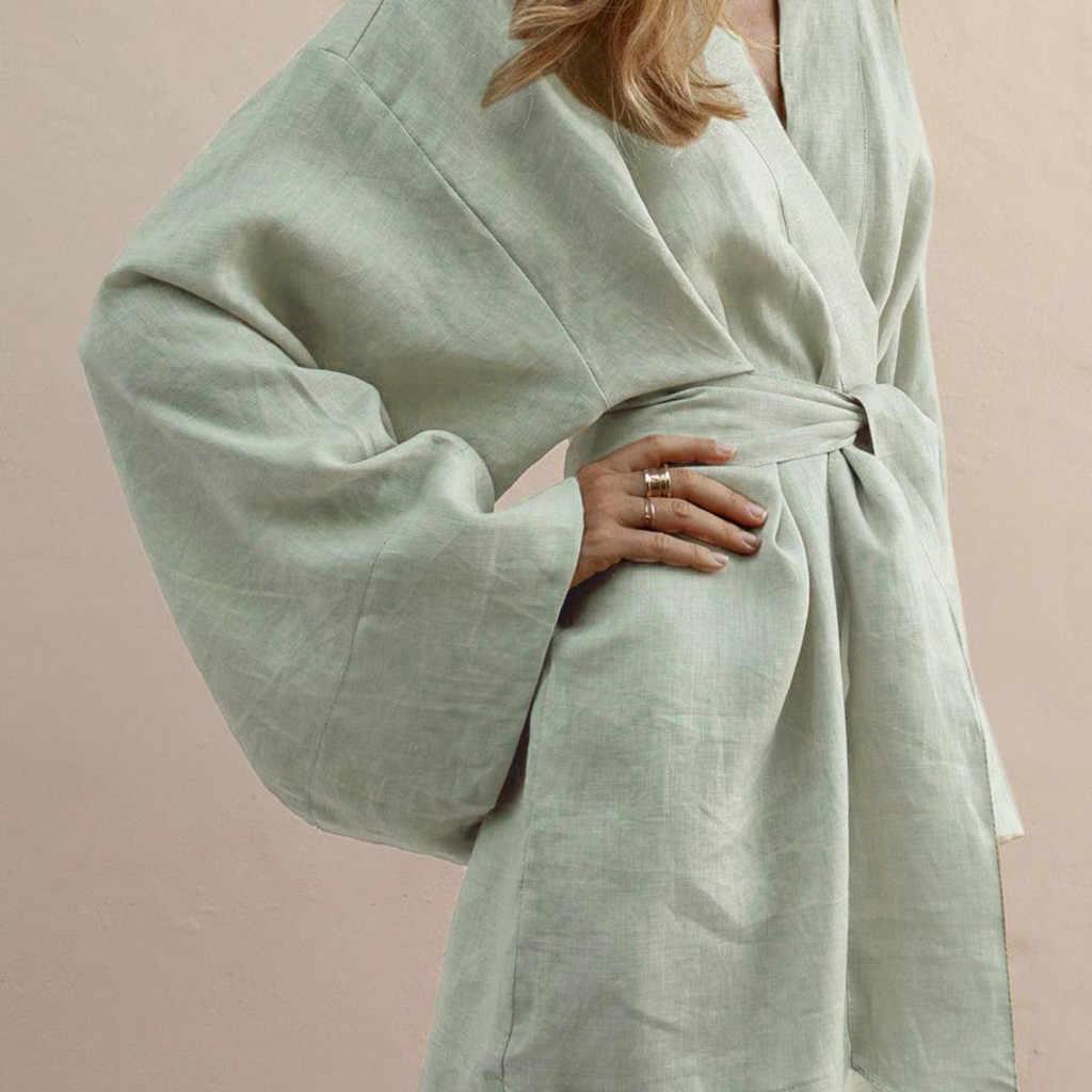 Vrouwen Katoenen Jurk Casual Strand Losse Jurk Dagelijks Gemakkelijk V-hals Slanke Zomer Revers Kant Temperament Elegante Jurken Robe # j4s