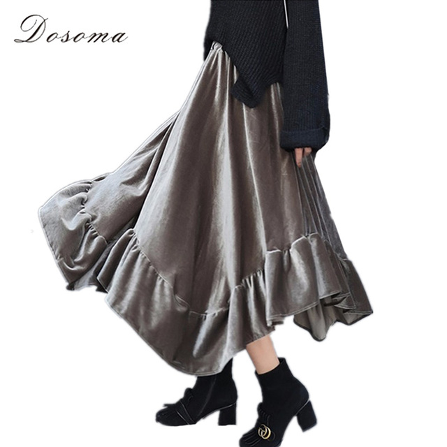velvet skirt high waist women 2017 vintage ruffles irregular midi skirt women autumn spring a-line billowing velour skirts