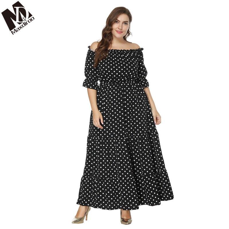 US $21.26 42% OFF|Maxdiroo Elegant Women Dress Chiffon Off Shoulder Dot  Black Dress Ladies Long Maxi Dress Plus Size Dress for Women 4xl 5xl 6xl-in  ...