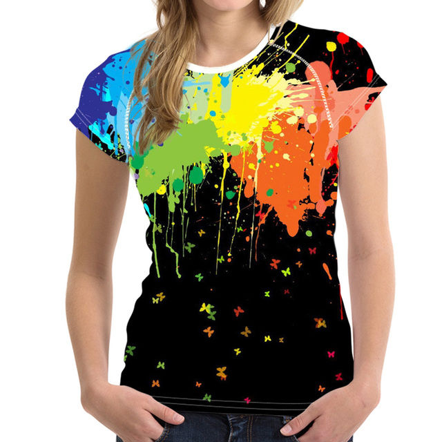 9a77345399e01 US $26.77 |Customized Colorful Splashed Paint Print Woman's Tops Tees  Streatwear Teen Girls Summer T Shirts Famous Brand Clothing Women-in  T-Shirts ...