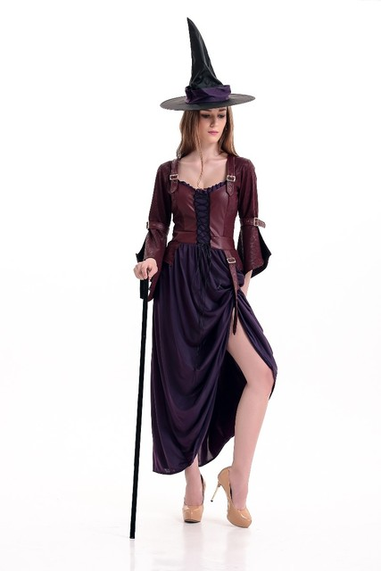 Sexy Adult Women Witch Halloween Costume Steampunk Deluxe Long ...