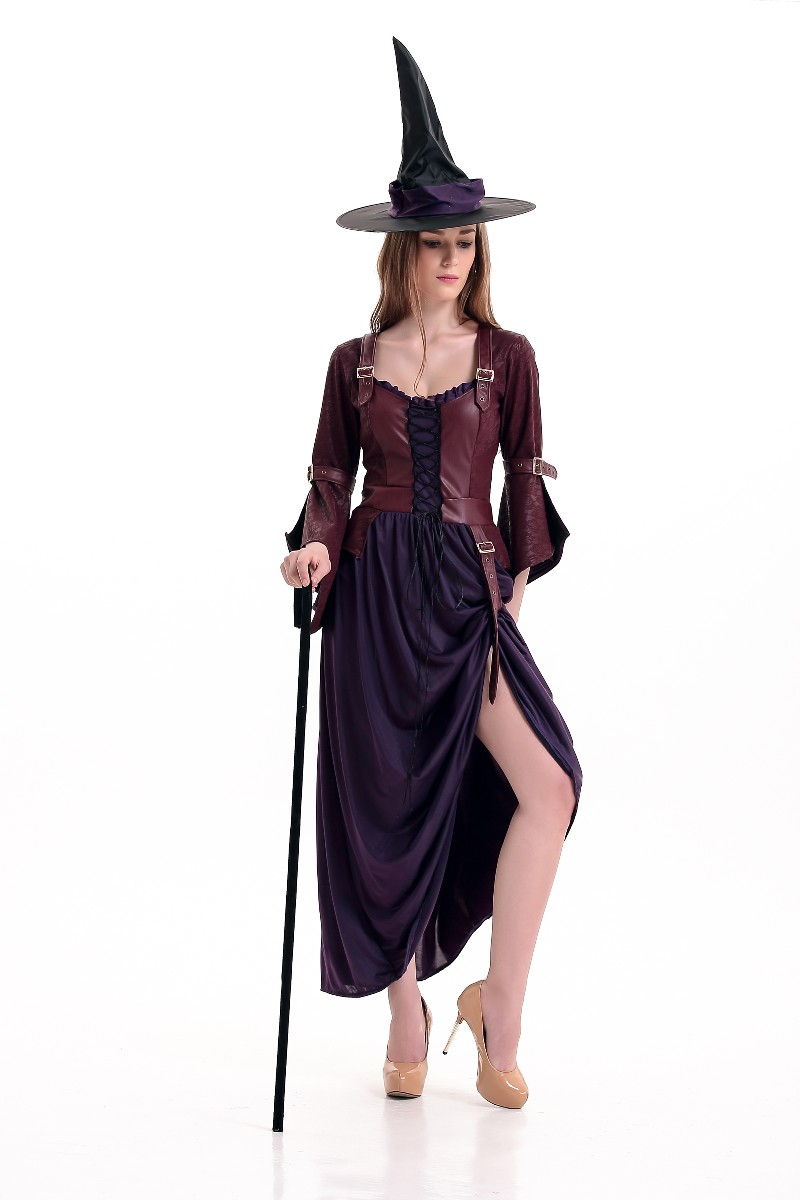 Sexy Adult Women Witch Halloween Costume Steampunk Deluxe Long Disguise PVC Slit Dress Pointed Hat Sets Role Play For Girls