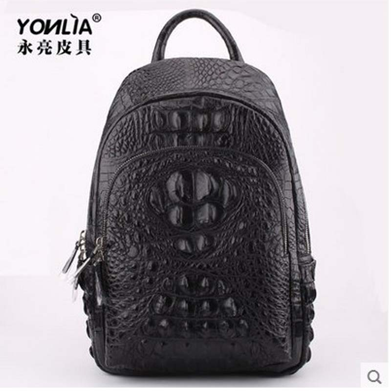 yongliang New authentic old alligator leather double shoulder bag, men and women, general fashion crocodile leather men backpack old and new terrorism