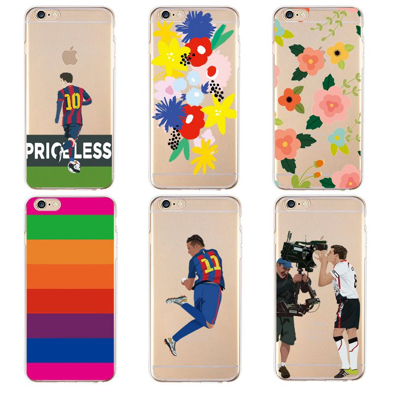 Flora Soft Clear TPU Phone Case For iPhone 4/4s 5 5s 6 6plus 7 8plus For iPhone x Soccer Strip Flower Cute Cover Free Shipping