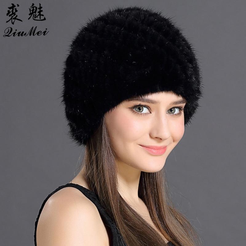 QiuMei Womens Winter Hats Lined Natural Real Fur Cap New Fur Knitted Cap Women Pineapple Hat Genuine Mink Fur Hat Female Winter