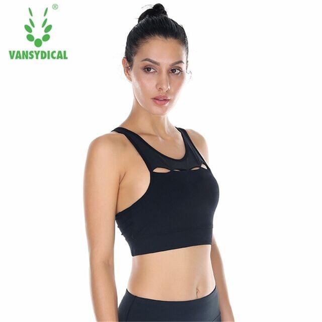 edf2d8653 Vansydical Formação Das Mulheres À Prova de Choque Esportes Bras Yoga Push  Up Bra Acolchoado Aptidão