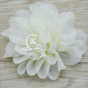 Image 3 - 100 adet/grup, 3.75 tarak şifon çiçek, perişan şifon çiçek kafa bandı moda aksesuarları giyim aksesuarları