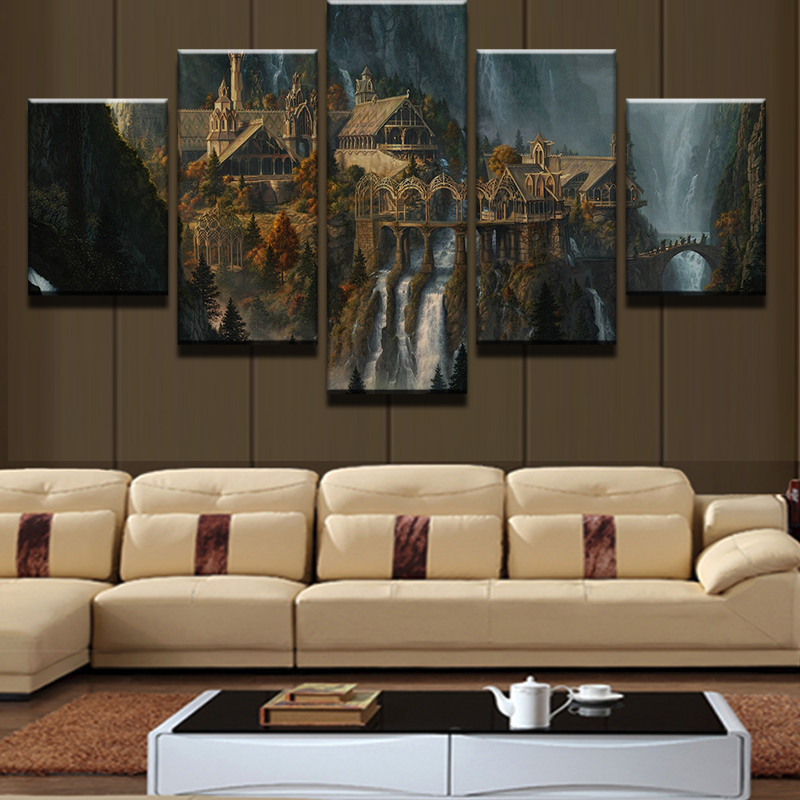 Modern Home Wall Art Decor Canvas Picture Frame HD Print 5 Pieces Mysterious Mountain Castle Waterfall Landscape Painting PENGDA