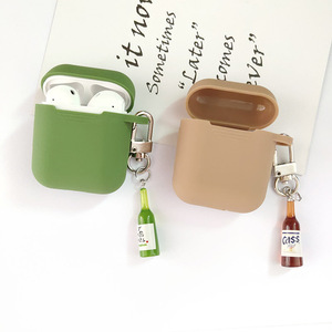Image 2 - קוריאני חמוד באר עיצוב בקבוק סיליקון אוזניות מקרה עבור אפל Airpods אביזרי Bluetooth אוזניות מגן כיסוי מפתח טבעת