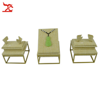PVD Painted 304 Stainless Steel Beige Linen Bangle Pendant Display Holder Stand Necklace Displays For Jewelry Sets 9*9*5CM