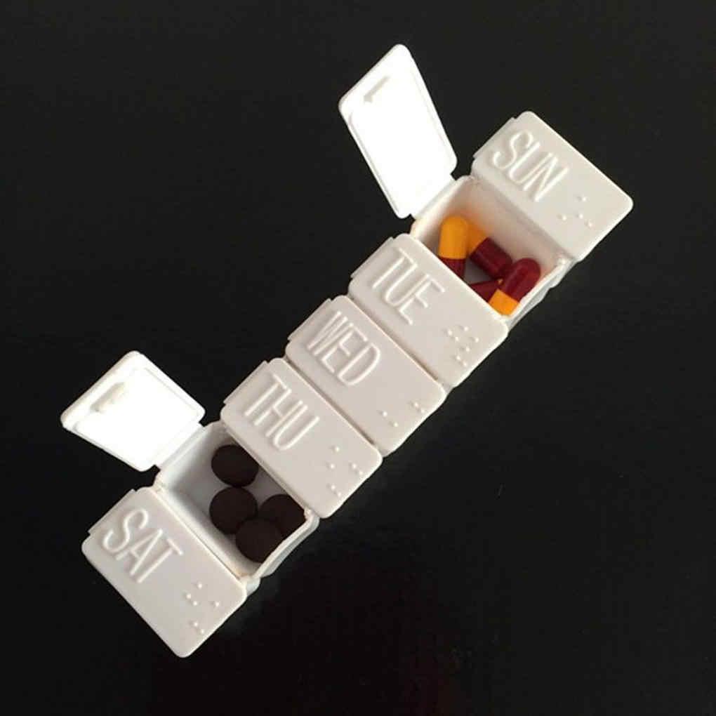 1 ピース白ピルボックス 7 イタブレットピルボックスホルダー週刊医学収納オーガナイザーコンテナケースピルボックススプリッタ健康ケア