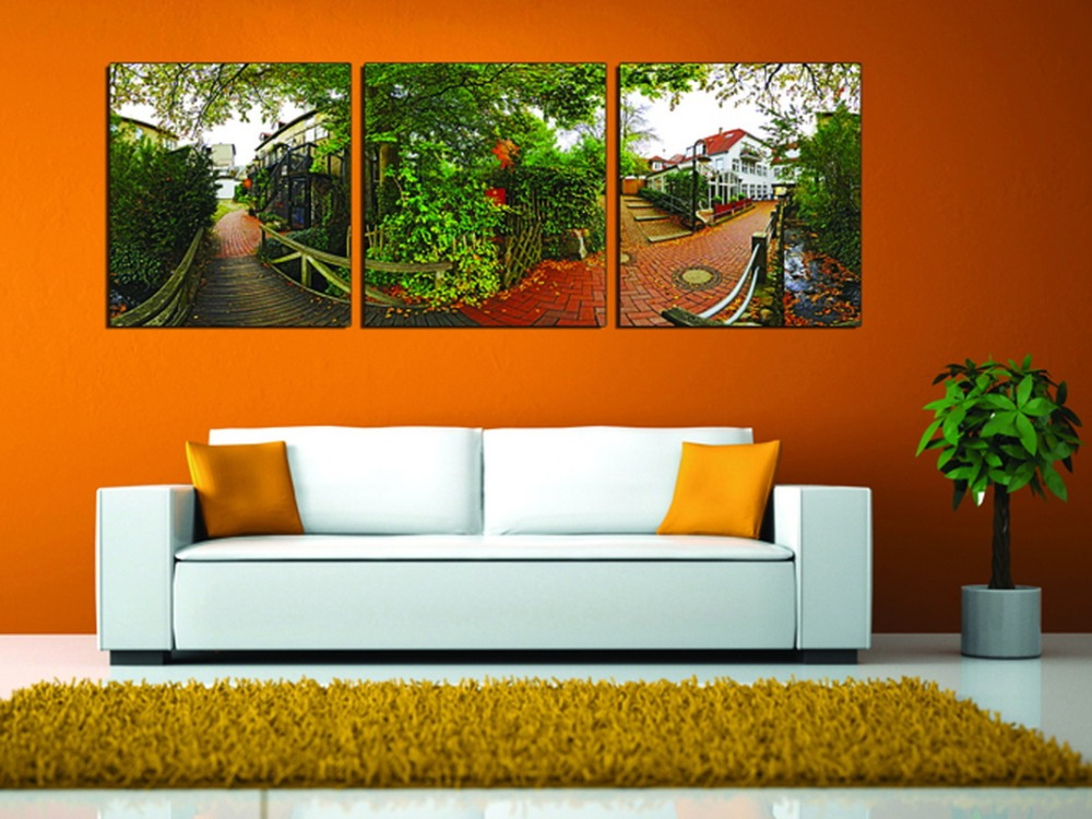 3 piece modern wall art home decoration green trees red for Art for house decoration