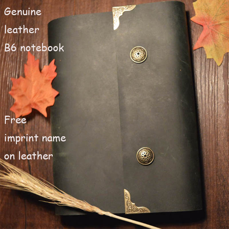 New handmade genuine leather journal vintage notebook B6 size lock travelers notebook loose-leaf kraft paper school supplies standard a4 genuine black leather cover notebook handmade loose leaf kraft line page paper imprint leather monogram notebook