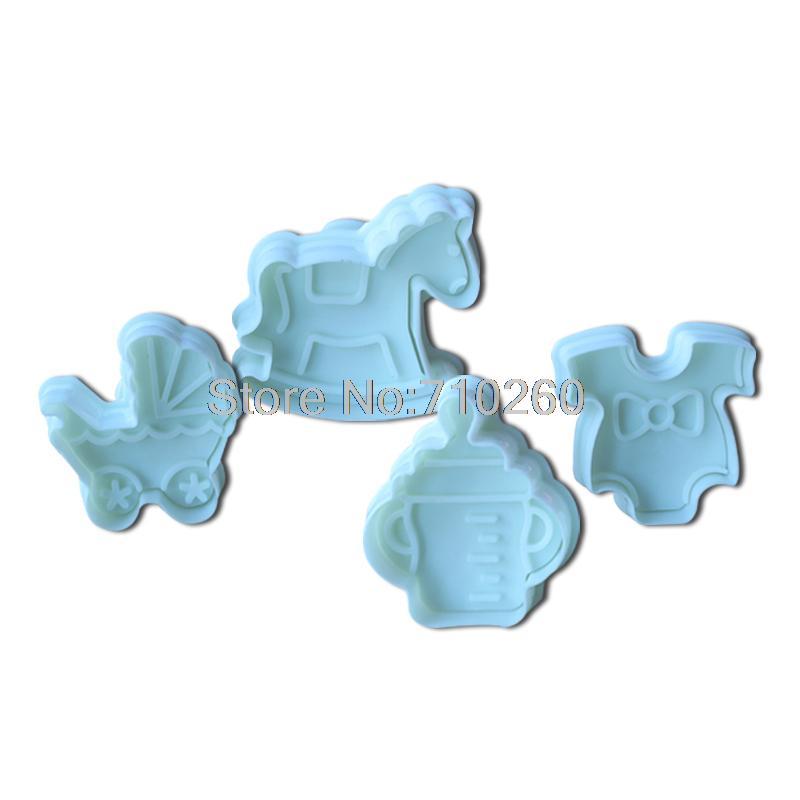 4pcs/set Fashion Cute Horse Baby Cake Mold Fondant Cake Decoration Craft Mold Pastry Baking Tool 020053