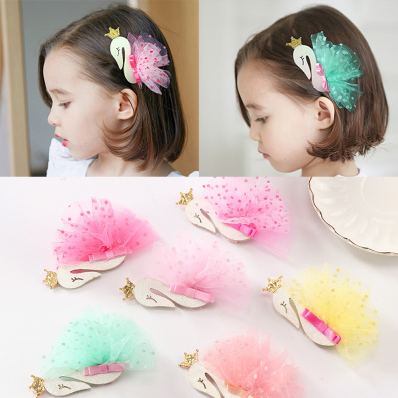 Fashion Princess Tiaras Swan Headdress Children Yarn With Sequin Cygnus Girls Flamingo Kids Hair Clips Hairpins 1PC Mesh Crown