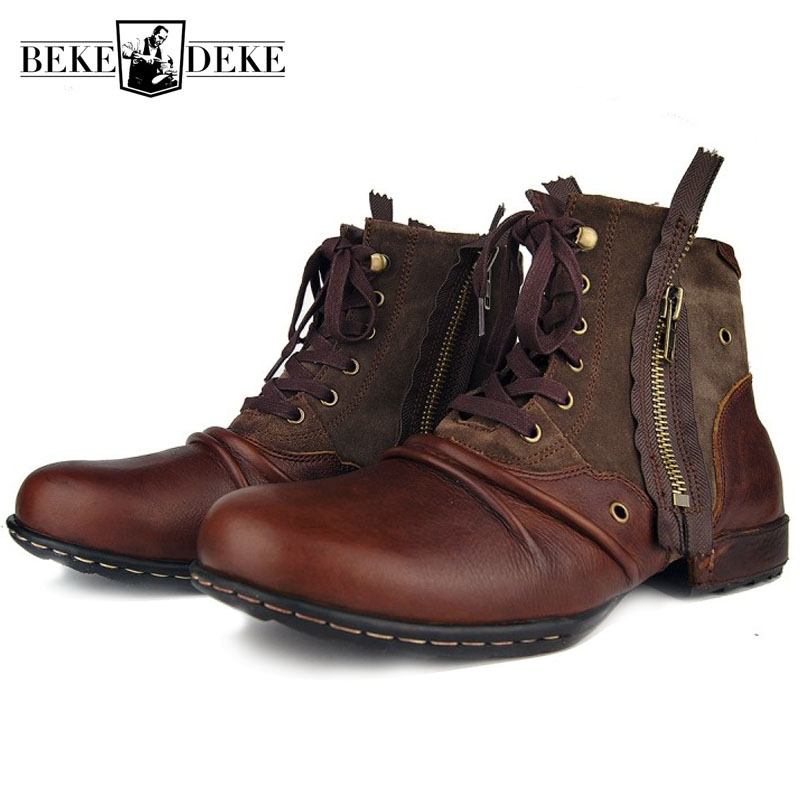 Plus Size Vintage Zipper Mens Work Boots High Quality Round Toe Genuine Leather Ankle Boots Casual Riding Boots Zapatos Hombre