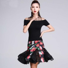 New Gauze Short Sleeve Top Flower print Lace Skirt Sexy Latin Dance 2pcs set for women/female, Ballroom tango Costumes MD7133