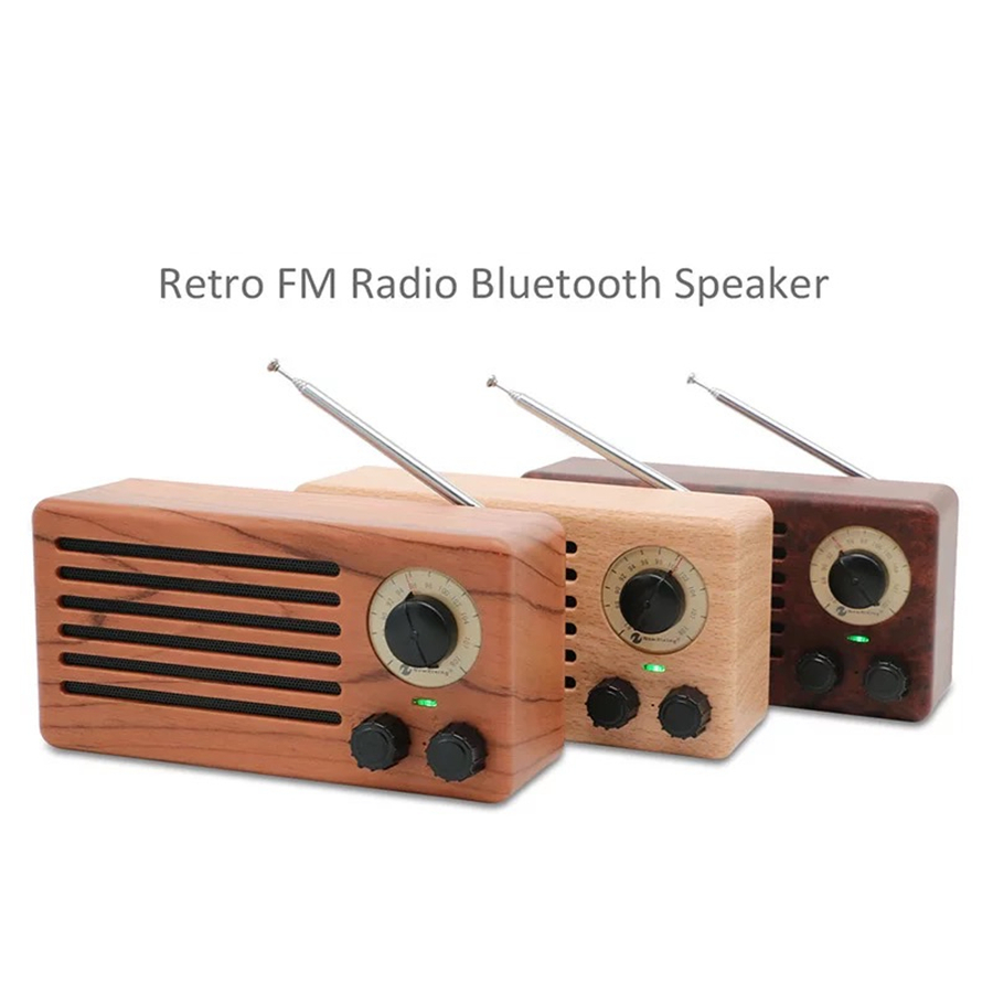 2018 New Retro wood portable Bluetooth speakers 10W support TF card FM radio USB for phone
