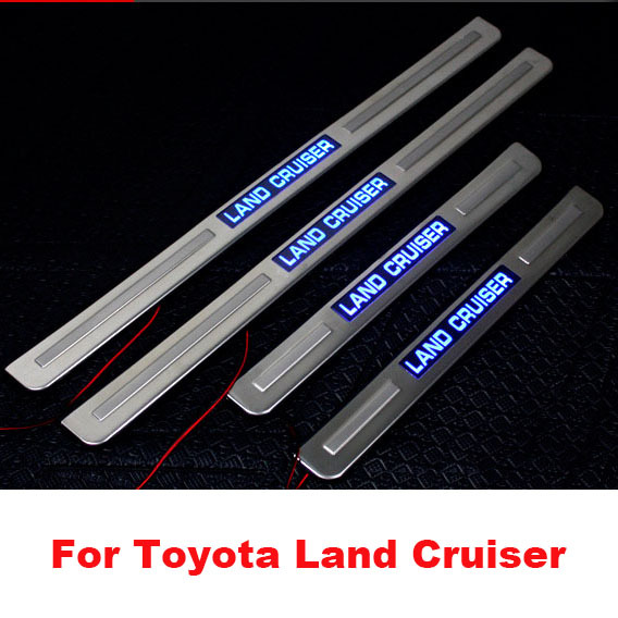 Stainless Steel LED Door Sill Scuff Plates Pedals For Toyota Land Cruiser 200 FJ 200 Accessories 2008-2016