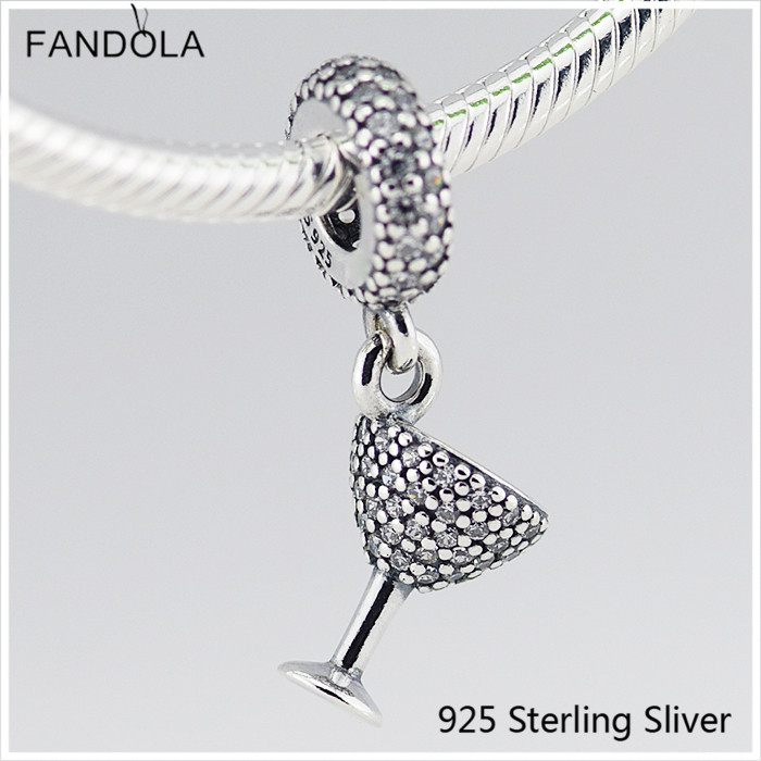 Original 925 Sterling Silver Jewelry Cocktail Glass Silver Dangle Charm with CZ Fit for Pandora Charm DIY Making Bracelet Gift