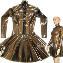 Прозрачное латексное платье сексуальное латексное платье молния сзади