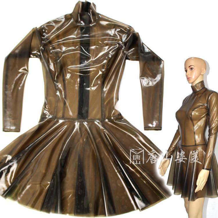 Robe Latex transparente robe Latex Sexy dos zippé