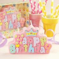 Increíble Imperial corona Feliz Cumpleaños vela sin humo Velas Carta kid regalo baby shower decoraciones fiesta de cumpleaños suministros